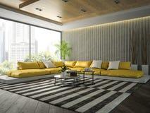 Εσωτερικό του δωματίου σύγχρονου σχεδίου με τον κίτρινο καναπέ τρισδιάστατα δίνοντας 2 Στοκ Εικόνες
