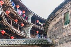 Εσωτερικό του tulou Fujian Στοκ Φωτογραφίες