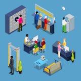 Εσωτερικό τράπεζας με τους πελάτες και τους τραπεζίτες isometric διανυσματική απεικόνιση