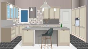 Εσωτερικό υπόβαθρο κουζινών με τα έπιπλα Σχέδιο της σύγχρονης κουζίνας έπιπλα συμβόλων Απεικόνιση κουζινών ελεύθερη απεικόνιση δικαιώματος