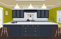 Εσωτερικό υπόβαθρο κουζινών με τα έπιπλα Σχέδιο της σύγχρονης κουζίνας έπιπλα συμβόλων Απεικόνιση κουζινών διανυσματική απεικόνιση