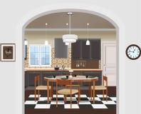Εσωτερικό υπόβαθρο κουζινών με τα έπιπλα Σχέδιο της σύγχρονης κουζίνας Απεικόνιση κουζινών απεικόνιση αποθεμάτων