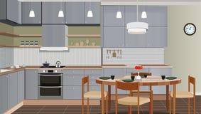 Εσωτερικό υπόβαθρο κουζινών με τα έπιπλα Σχέδιο της σύγχρονης κουζίνας Απεικόνιση κουζινών ελεύθερη απεικόνιση δικαιώματος