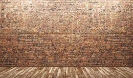 Εσωτερικό υπόβαθρο του δωματίου με το τουβλότοιχο και το ξύλινο πάτωμα τρισδιάστατους Στοκ εικόνα με δικαίωμα ελεύθερης χρήσης