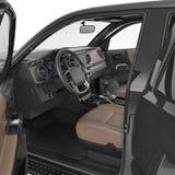 Εσωτερικό φορτηγών στο λευκό πόρτα που ανοίγουν τρισδιάστατη απεικόνιση Στοκ εικόνα με δικαίωμα ελεύθερης χρήσης