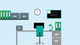 Εσωτερικό χώρου εργασίας γραφείων σε ένα σύγχρονο ύφος με έναν υπολογιστή, το λαμπτήρα και ένα ρολόι ενάντια στον τοίχο στοκ εικόνα με δικαίωμα ελεύθερης χρήσης