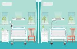 Εσωτερικό δωματίων θαλάμων νοσοκομείων με τα κρεβάτια Στοκ εικόνα με δικαίωμα ελεύθερης χρήσης