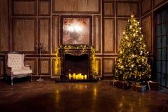 Εσωτερικό δωματίων Χριστουγέννων Grunge Στοκ Φωτογραφία