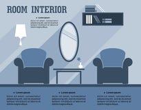 Εσωτερικό infographic πρότυπο δωματίων Στοκ εικόνες με δικαίωμα ελεύθερης χρήσης