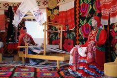 Εσωτερικό Yurt που παρουσιάζεται στον εορτασμό Sabantui στη Μόσχα Στοκ εικόνα με δικαίωμα ελεύθερης χρήσης