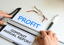 Ετήσια έκθεση της επιχείρησής σας για να αναλύσει τα χρηματοοικονομικά αποτελέσματα Στοκ εικόνες με δικαίωμα ελεύθερης χρήσης