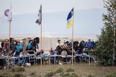 Ετήσια διεθνής συλλογή των σαμάνων στη λίμνη Baikal, νησί Olkhon Στοκ Φωτογραφίες