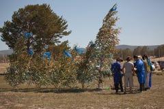 Ετήσια διεθνής συλλογή των σαμάνων στη λίμνη Baikal, νησί Olkhon Στοκ φωτογραφίες με δικαίωμα ελεύθερης χρήσης