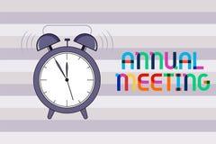 Ετήσια συνάντηση κειμένων γραφής Έννοια που σημαίνει ετήσια να συλλέξει των μια ενδιαφερόμενων οργάνωση μετόχων διανυσματική απεικόνιση