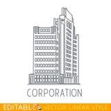 εταιρία Οικοδόμηση της μεγάλης επιχείρησης Αρχιτεκτονική εμπορίου Editable γραφικό στο γραμμικό ύφος Στοκ Φωτογραφία