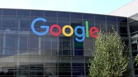 Εταιρικά έδρα και λογότυπο Google απόθεμα βίντεο