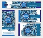 Εταιρικά διανυσματικά πρότυπα ταυτότητας που τίθενται με τα ζωηρόχρωμα doodles Στοκ Φωτογραφίες