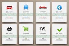 Εταιρικά διανυσματικά πρότυπα ταυτότητας που τίθενται με το θέμα παράδοσης doodles Στοκ Φωτογραφία