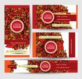 Εταιρικά διανυσματικά πρότυπα ταυτότητας που τίθενται με το floral θέμα doodles Στοκ εικόνες με δικαίωμα ελεύθερης χρήσης