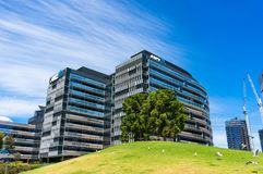 Εταιρικά κτίρια γραφείων κεντρικών τραπεζών ANZ σε Docklands Στοκ Εικόνα