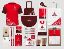 Εταιρικά στοιχεία ταυτότητας επιχειρησιακού γρήγορου γεύματος καθορισμένα Διανυσματικός προωθητικός ομοιόμορφος κόκκινου χρώματος απεικόνιση αποθεμάτων