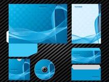 Εταιρικά ταυτότητας προτύπων επιχειρησιακά καθορισμένα χαρτικά χρώματος σχεδίου μπλε απεικόνιση αποθεμάτων