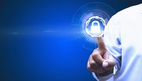 Εταιρικές λειτουργίες ασφάλειας αφής εκείνη η ασφάλεια ελέγχων μέσω των σύγχρονων συστημάτων στοκ εικόνα με δικαίωμα ελεύθερης χρήσης