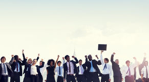 Εταιρική έννοια επιτυχίας εορτασμού επιχειρηματιών στοκ εικόνες