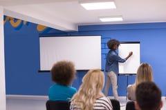 Εταιρική έννοια επιχειρησιακής συνεδρίασης σεμιναρίου ομιλητών μαύρων γυναικών Στοκ Εικόνες