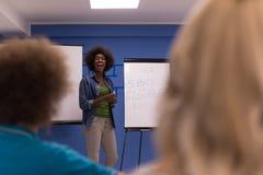 Εταιρική έννοια επιχειρησιακής συνεδρίασης σεμιναρίου ομιλητών μαύρων γυναικών Στοκ Φωτογραφία