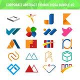 Εταιρικό αφηρημένο σχέδιο 2 πακέτων δεσμών συμβόλων μέγα διανυσματική απεικόνιση