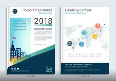 Εταιρικό πρότυπο σχεδίου βιβλίων επιχειρησιακής κάλυψης με infographic διανυσματική απεικόνιση
