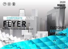 Εταιρικό πρότυπο σχεδίου κάλυψης ιπτάμενων υποβάθρου πόλεων σε A4 απεικόνιση αποθεμάτων