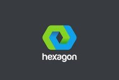 Εταιρικό πρότυπο σχεδίου επιχειρησιακών γεωμετρικό αδύνατο αφηρημένο λογότυπων Hexagon περιτυλίχτηκε εικονίδιο έννοιας Logotype μ Στοκ Εικόνες