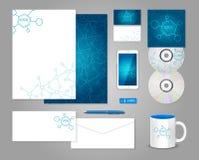 Εταιρικό πρότυπο ταυτότητας με τα μόρια Στοκ Εικόνα