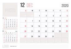 Εταιρικό σχέδιο Δεκέμβριος προτύπων ημερολογιακών 2020 αρμόδιων για το σχεδιασμό Ενάρξεις εβδομάδας την Κυριακή ελεύθερη απεικόνιση δικαιώματος