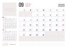 Εταιρικό σχέδιο Σεπτέμβριος προτύπων ημερολογιακών 2020 αρμόδιων για το σχεδιασμό Ενάρξεις εβδομάδας την Κυριακή διανυσματική απεικόνιση