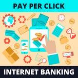 Εταιρικό σχέδιο, τραπεζικές εργασίες Διαδικτύου επίπεδο έμβλημα, που τίθεται με τις πληροφορίες, απεικόνιση, για τη διαφήμιση Στοκ Εικόνα