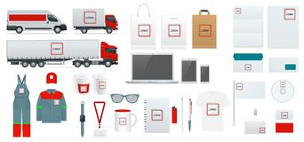 Εταιρικό σύνολο προτύπων ταυτότητας Σχέδιο μαρκαρίσματος Κενό άσπρο πρότυπο Πρότυπο επιχειρησιακών χαρτικών Για γραφικό Στοκ εικόνες με δικαίωμα ελεύθερης χρήσης