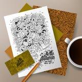 Εταιρικό σύνολο ταυτότητας φθινοπώρου κινούμενων σχεδίων doodles Στοκ Εικόνες