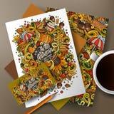 Εταιρικό σύνολο ταυτότητας φθινοπώρου κινούμενων σχεδίων doodles Στοκ φωτογραφία με δικαίωμα ελεύθερης χρήσης
