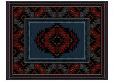 Ετερόκλητος εθνικός τάπητας με την εκλεκτής ποιότητας διακόσμηση και μπλε στη μέση ελεύθερη απεικόνιση δικαιώματος