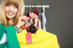 Ετικέτα έκπτωσης εκμετάλλευσης γυναικών Πώληση και λιανική πώληση Στοκ Εικόνα