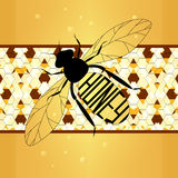 Ετικέτα απεικόνισης στο μέλι η μέλισσα με τις κηρήθρες Στοκ Εικόνα