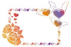 Ετικέτα βαλεντίνων με τα τριαντάφυλλα και τις καρδιές Στοκ Φωτογραφία