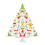 Ετικέτα εικονιδίων γραμμών Χριστουγέννων Απεικόνιση αποθεμάτων
