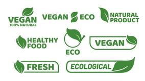 Ετικέτα ετικεττών Vegan Λογότυπο διακριτικών Veganism, χορτοφάγα οργανικά προϊόντα και διανυσματικό σύνολο διακριτικών οργανικής  απεικόνιση αποθεμάτων