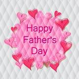 Ετικέτα ημέρας του ευτυχούς πατέρα στη ρόδινη καρδιά Στοκ Εικόνες