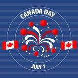 Ετικέτα ημέρας του Καναδά στο μπλε επίσης corel σύρετε το διάνυσμα απεικόνισης Στοκ φωτογραφία με δικαίωμα ελεύθερης χρήσης