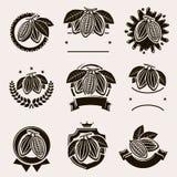 Ετικέτα και εικονίδια φασολιών κακάου καθορισμένες διάνυσμα απεικόνιση αποθεμάτων